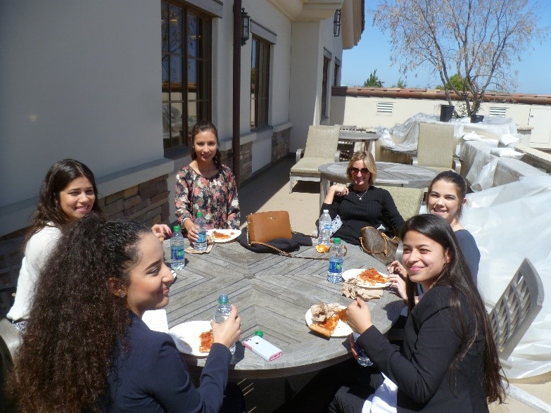 Students and teacher enjoying lunch provided by Mission Trails ROP Coordinator, Melissa Casillas. Mission Trails ROP also provided transportation for the students.