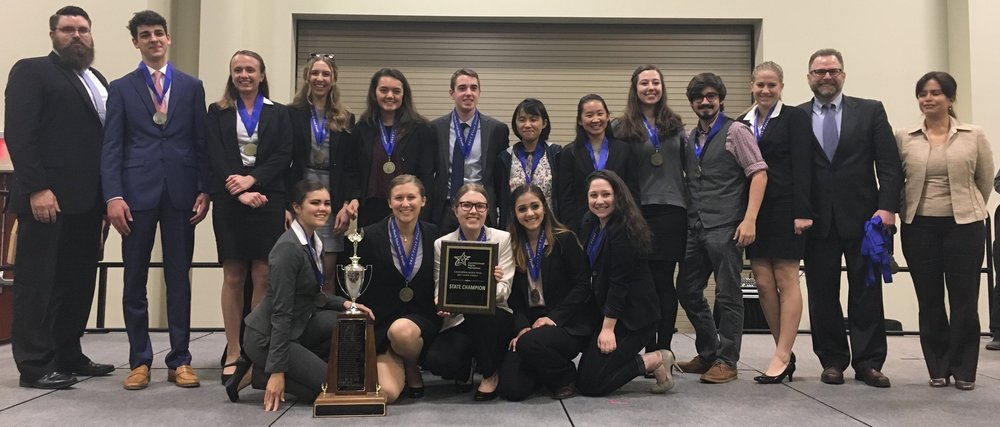 Carmel's Mock Trial team after winning the State championship.