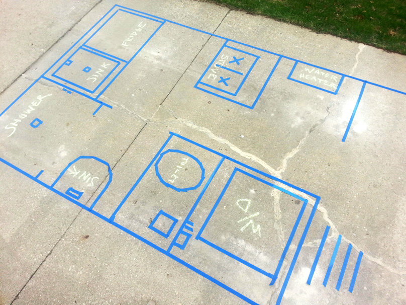"""Feelin' it out – Life-size tape floorplan"" as featured in The Tiny Project (Photograph by Alek Lisefsk)"