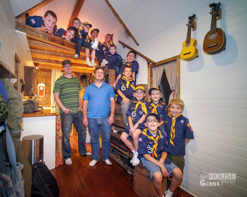 """How many boy scouts can you fit in a Tiny House?"" (Photograph by Tiny House Giant Journey)"