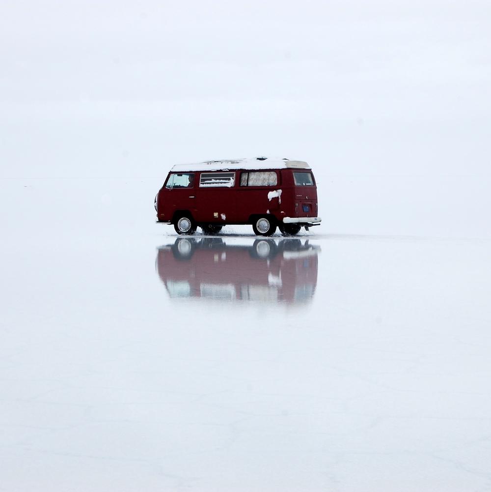 On the Salar de Uyuni, Bolivia during a rare snowstorm