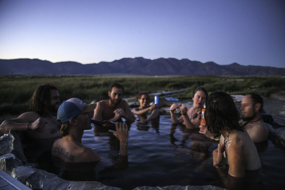 At a hot springs off U.S. Route 395 close to Mammoth Lakes