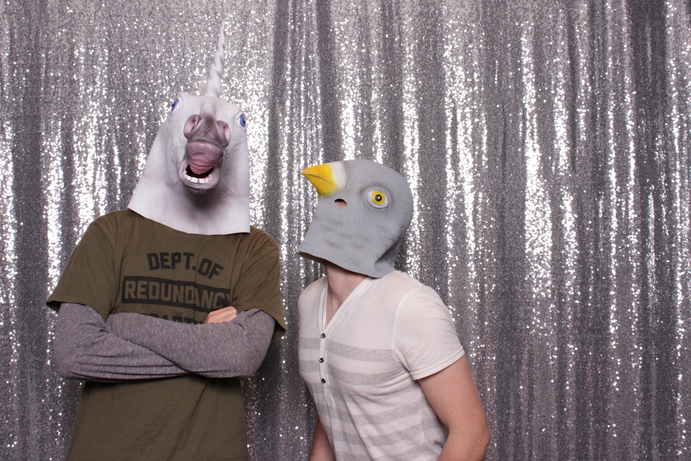 When you show up to a costume party without a costume, just grab some props from the photo booth!