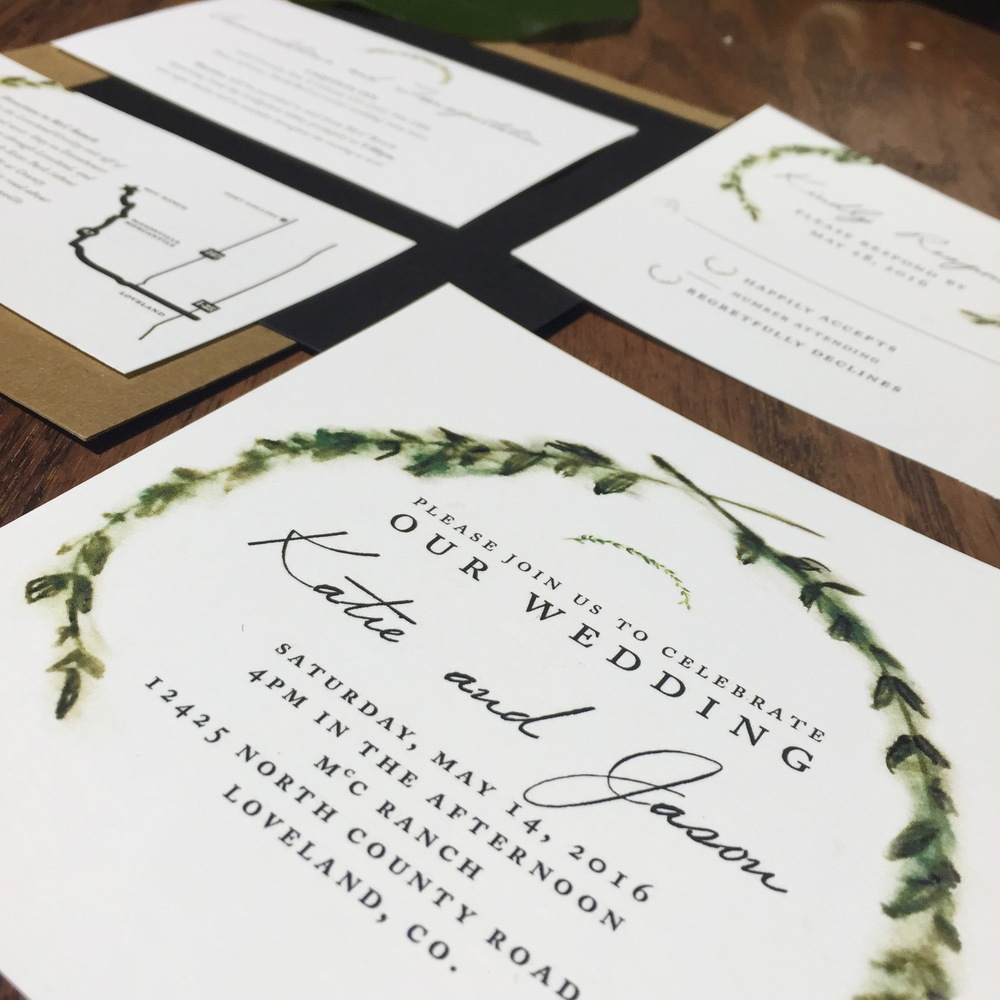 custom wedding invitation stationery woodland greenery hand-painted