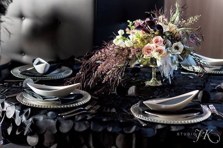 Photo by Studio JK Photography, Table Concept Design and Floral by Pro Chic Events, Tableware by AllWell Rents, Stationery by Veronica Preston Design