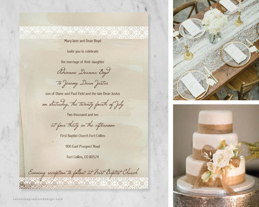 Click to see more about this rustic, lace-y, and monochromatic invitation suite!