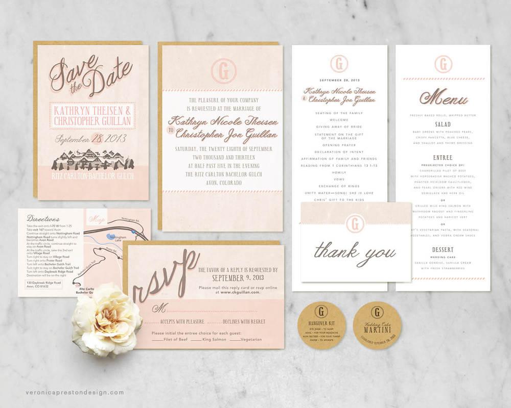 Rustic Blush Wedding Suite — Veronica Preston Design