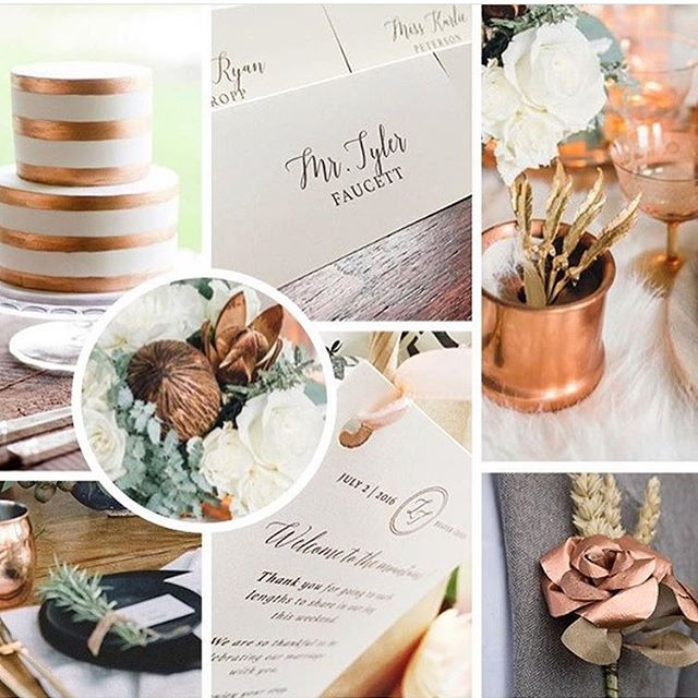 I'm so thankful to @copperleafeventcenter for sharing my moodboard from my preview book today! I had a blast working  with @lfaucetto on her gorgeous wedding!! Shown here: Welcome gifts & placecards by yours truly. Other inspiration photos from Pinterest. Planning: @prochicevents . . . . . #copper #copperwedding #copperinspiration #weddingmoodbard #weddingplacecards #weddingwelcomegifts #classic #weddinginvitations #weddinginvitationsuites #customdesign #customweddingstationery #weddingstationery #weddingstationerysuites