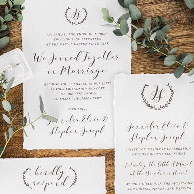 "This elopement invitation suite was featured today with gorgeous inspiration titled, ""Glorious Ruins"" on @luxemountainweddings! An amazingly creative team shared in each aspect! I loved working on the hand-drawn crest to create this one! . . . . Photographer: @sarahporterphotos  Floral Designer: @francesfloraldesign Cake Designer: @batterupcakes Dress Shop: @doragracebridal Dress: @maggiesotterodesigns Model: @modelkatelinknox Invitation Designer: @veronicaprestondesign Ring: @victorbarbonejewelry Hair Stylist: @monnierhys"