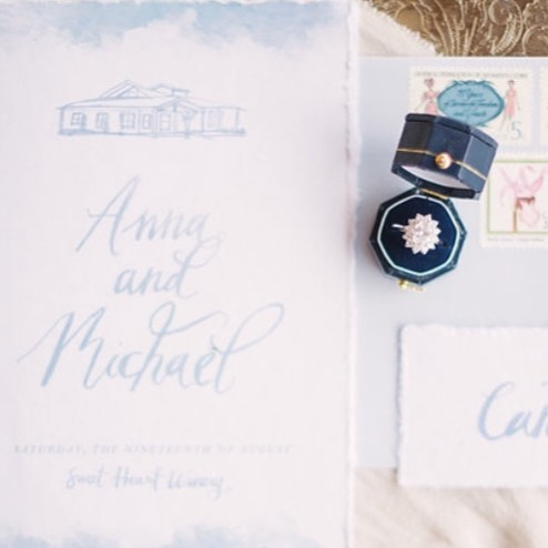 When @pinkdiamondco called to chat about this collaboration in LOVEland, I could picture it all in my mind! It turned out even more beautiful than I expected! Painting the illustration of the venue, @sweetheartwinery was a highlight! And this blue!! 😍 Getting the paints out, drawing, creating, writing...brings so much inspiration and fills my soul. . . . Photography: @decorusfineart | Planning: @pinkdiamondco | Floral: @hanastyledesigns | Venue: @sweetheartwinery | Stationery: @veronicaprestondesign | Attire: @doragracebridal | Rentals: @rcspecialevents | Models: @batesmasta & @rikkafray | Hair & Makeup: @janierocek