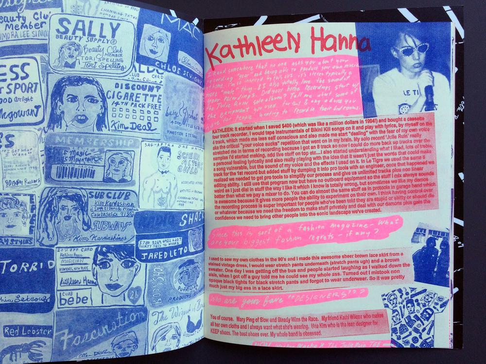 Seth Bogart's interview with Kathleen Hanna in Wacky Wacko Magazine #1. Published by Youth in Decline x Wacky Wacko, January 2015.