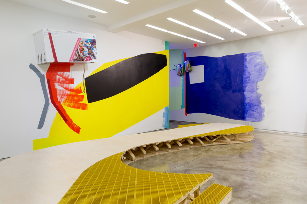 Installation view, Jessica Stockholder,Door Hinges,Kavi Gupta | Elizabeth Street, Floor One. Photo by Evan Jenkins.