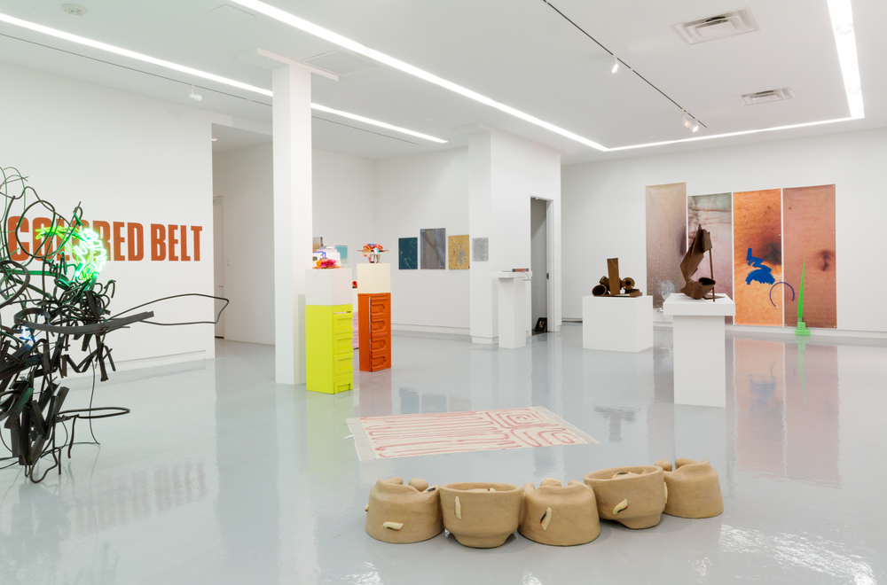Installation view, ASSISTED, curated by Jessica Stockholder, Kavi Gupta | Elizabeth Street, Floor Two. Photo by Evan Jenkins.