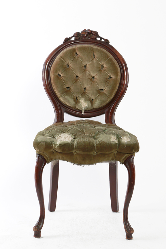 Antique Green Velvet Chair