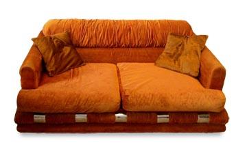 Vintage 70's Orange Velvet Couch
