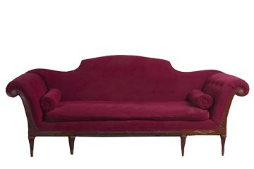 Vintage Red Scroll Back Couch