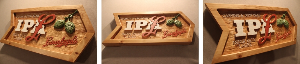Hand carved Signs for Leinenkugle's Beer in Wisconsin - By Lazy River Studio
