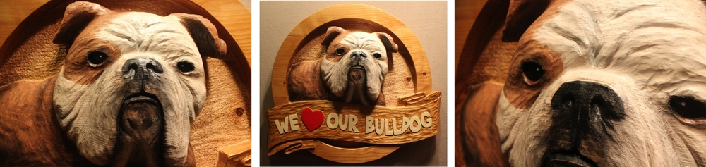 """Custom Carved Wooden Sign featuring an English Bulldog and custom carved text. This wooden sign measures approx 36"""" wide and is 5"""" thick."""