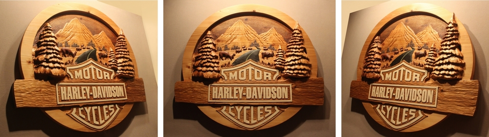 """Custom Harley Davidson, Hand Carved Sign. Made from cedar and approx 48"""" wide and 5"""" thick. Sign made for a license application and not for sale. See how it was made in the video link."""