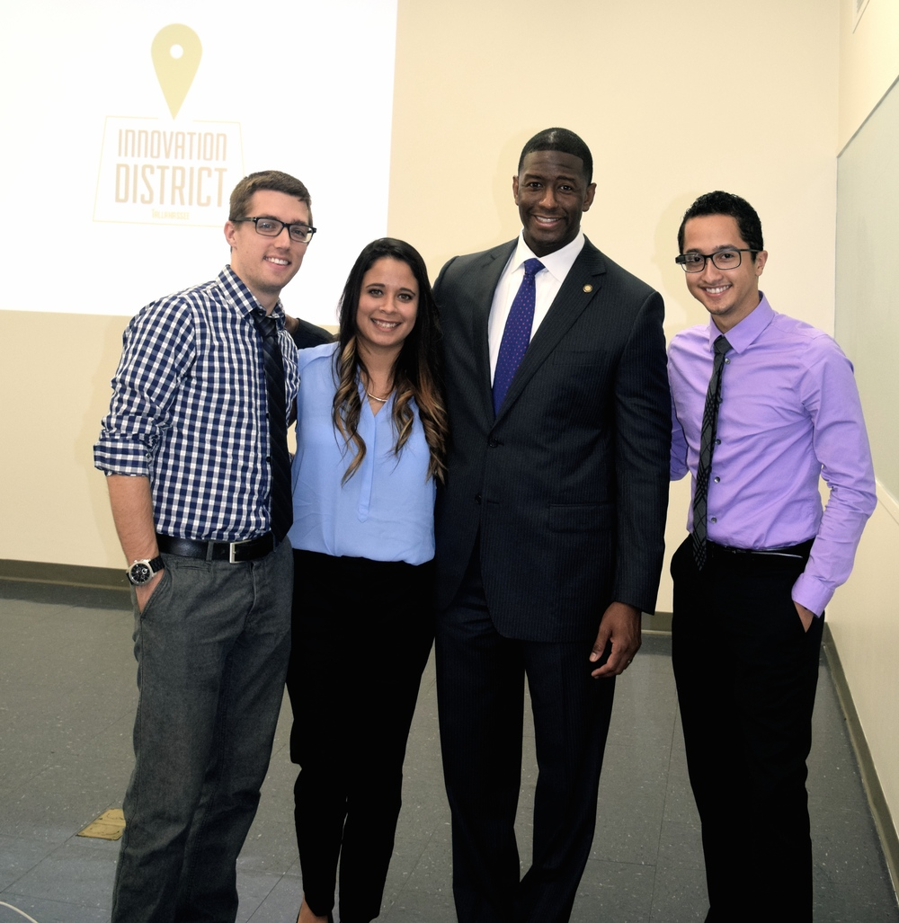 Pictured (left to right): Lucas Lindsey, Karla Galvan, Mayor-Elect Andrew Gillum, & Ryan Kopinsky.