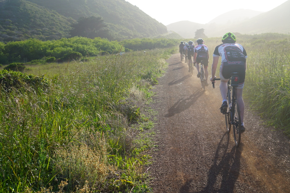 Rolling along Rodeo Valley Trail in the Marin Headlands with the Stammtisch ride