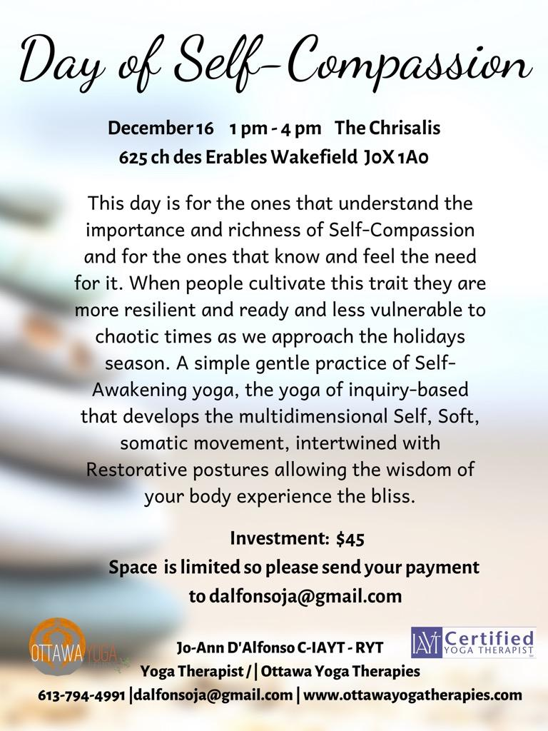 Day Of Self Compassion Ottawa Yoga Therapies With Jo Ann D Alfonso