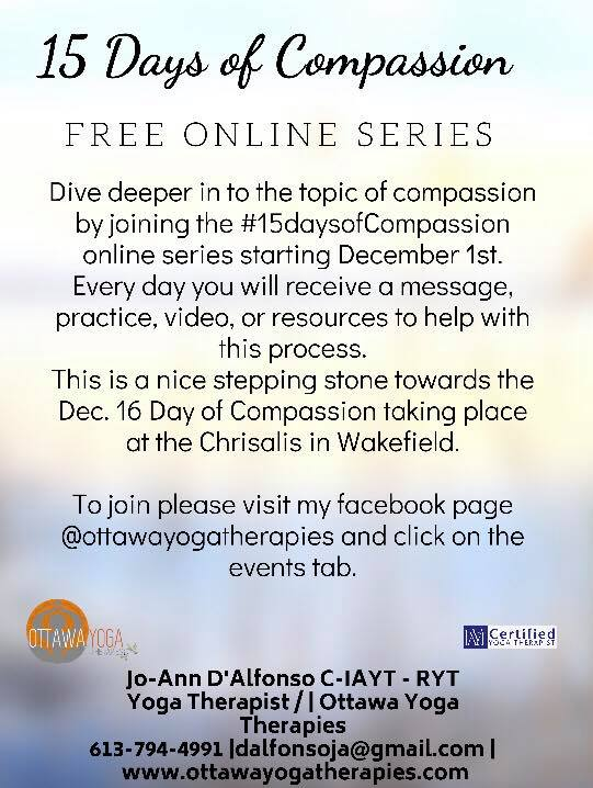 15 Days Of Compassion Ottawa Yoga Therapies With Jo Ann D Alfonso