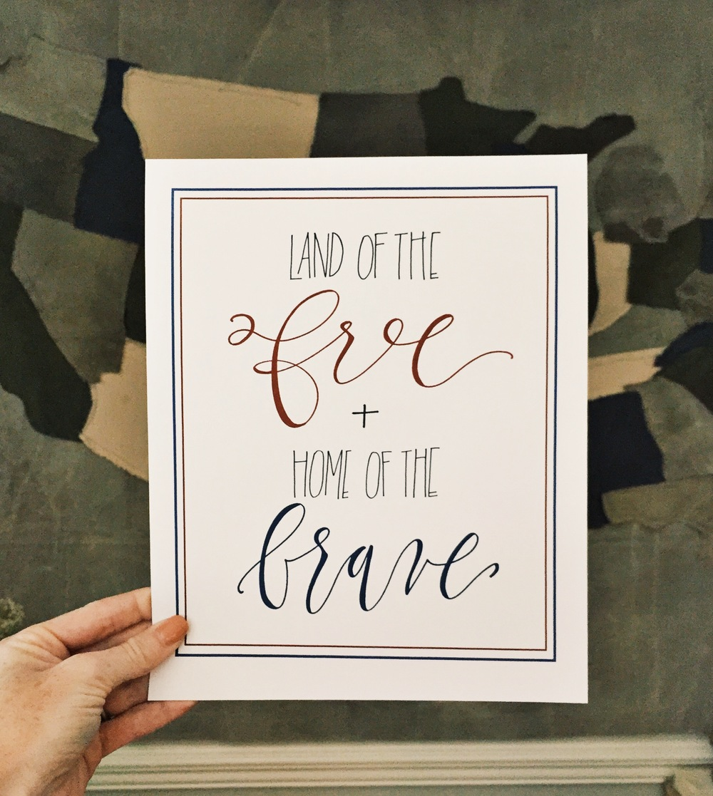 Land of the free + Home of the brave :: click here to download free printable ::  (cut to approx. 8x10)