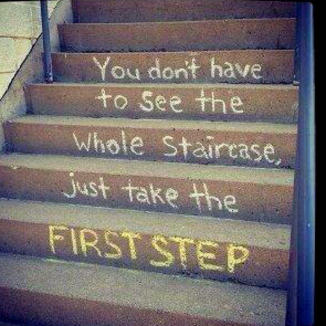 "Sometimes when we don't know what's coming, we have trouble using the tools and talents we already have. ""Just take the first step"""