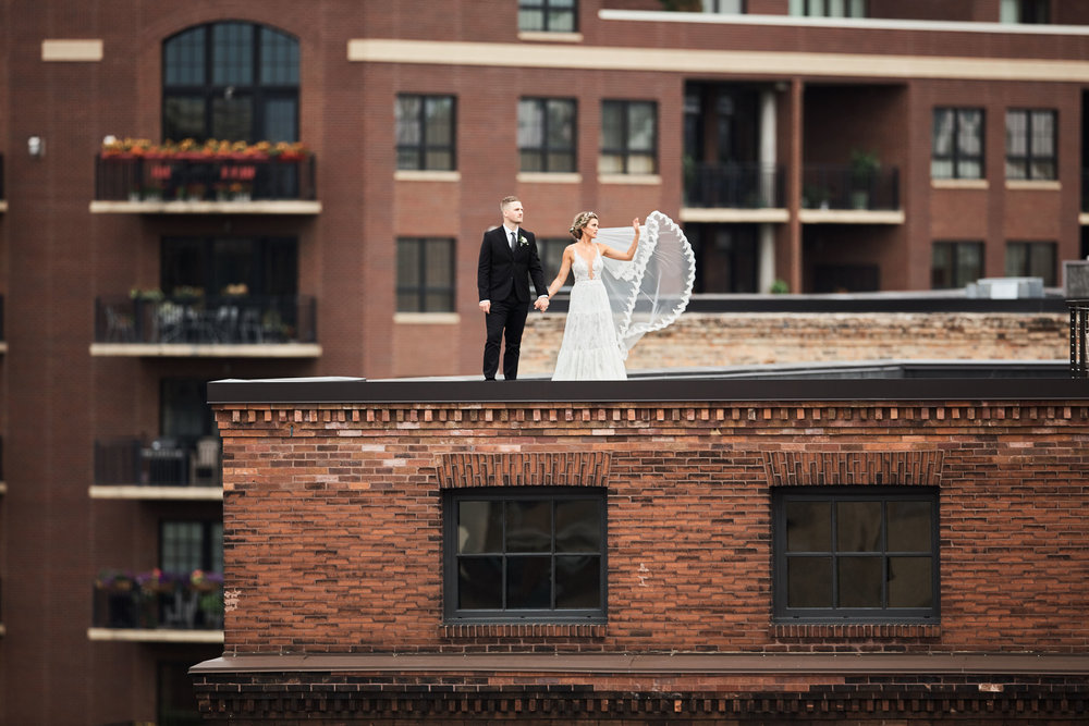rooftop wedding couple