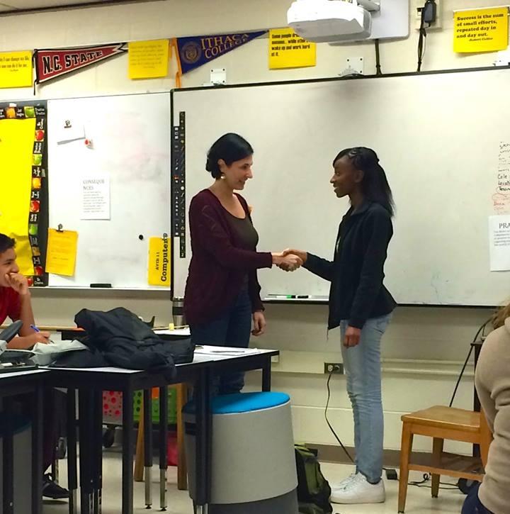 Volunteering with high school students.