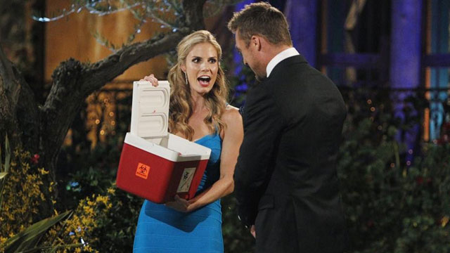 "Look at this chick, bringing a fake ""human heart"" to the Bachelor. I think it's because she is a Doctor. Silly, sure. But memorable? You betcha."