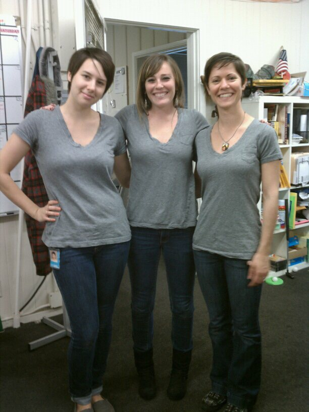 We were babies!! This was the day that Amy, our friend Marika, and I all showed up to work wearing the same shirt!