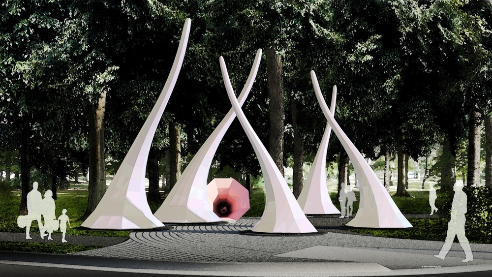 Land Horns sculpture by William Cochran and landscape by Mahan Rykiel Associates