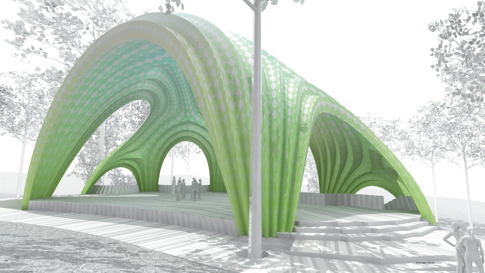 Chrysalis amphitheater pavilion by Marc Fornes & THEVERYMANY, Arup and Living Design Lab