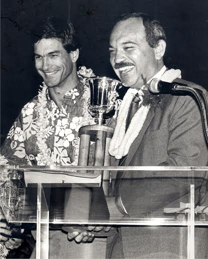 Winning the Governor's Cup 1987, with  Governor John Waihee