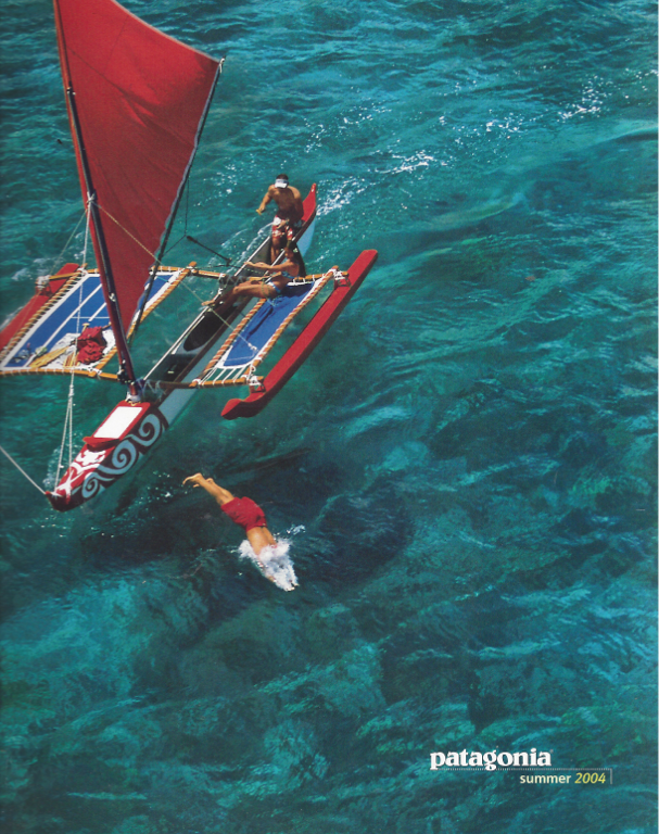 Cover shot of Mike Field and his sailing canoe off the Big Island.