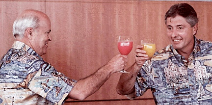 First Hawaiian's Bank merger with California BancWest is celebrated by their respective executives wearing Avi Kahala Aloha Shirts in 1998.