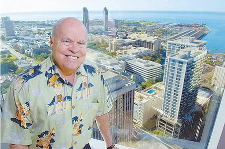 Walter Dods Chairman and CEO of First Hawaiian Bank wearing His Yvonne Cheng Aloha Shirt