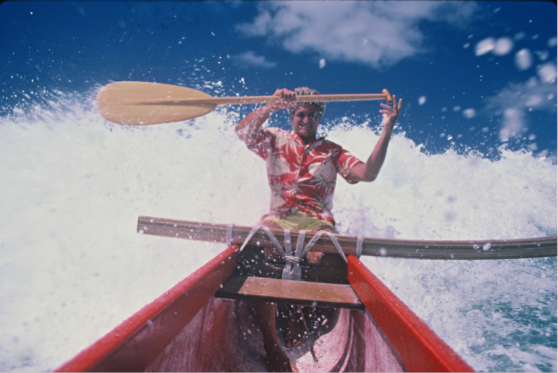 Mark Sandvold taking a drop for a Canoes photo shoot