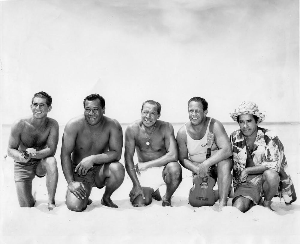 "Rube Hauseman has an interesting story about creating the first Aloha Shirts.  He first gave them to the Waikiki Beach Boys, Panama Dave, Colgate, ""Chick"" and after surfing, they all would go to a downtown bar called the Rathskellar.  The shirts were actually referred to as the Rathskellar Shirts after their debut."