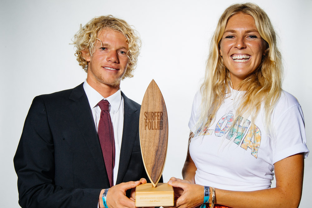 Steph Gilmore taking home the top Surfer Poll Trophy
