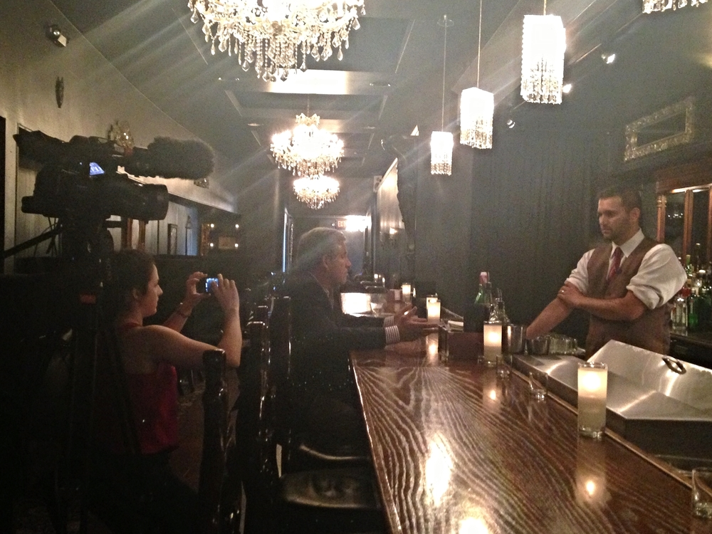 Behind the scenes filming in a cocktail bar for a TV shoot is just one of the more interesting aspects of the work I have done.