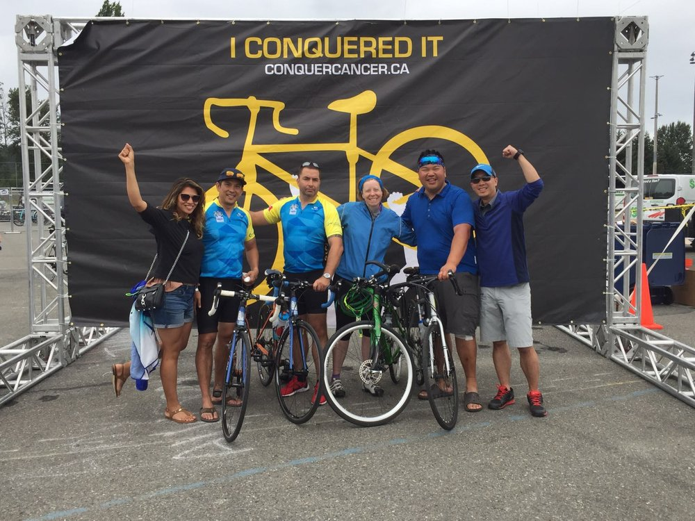 Members of the 1-Bridge logistics team cycled 250 kms over two days and raised just over $11,000 to support cancer research