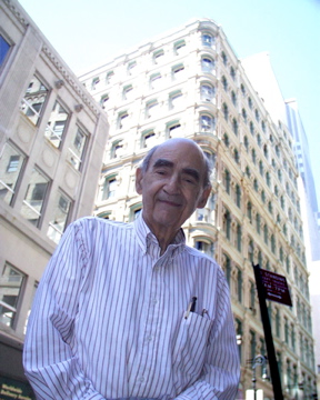 Laurence Orbach (1924-2008),  In front of his office at 93 Nassau Street, in New York City's first diamond district in 2005