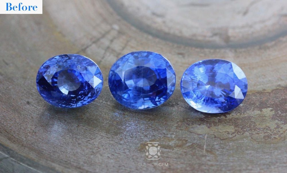Left to Right: 12.27 Oval Sapphire, 16.13 Oval Sapphire, 10.91 Oval Sapphire
