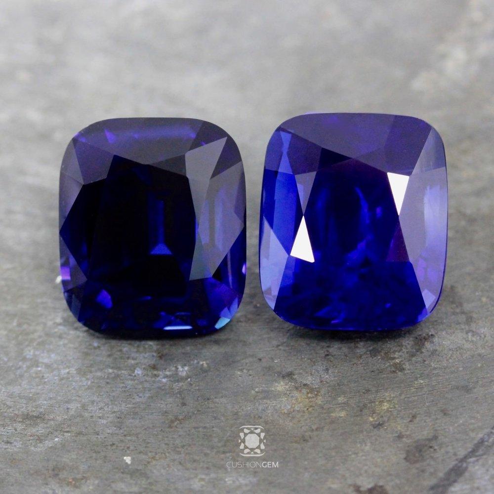 34.68 Pair Cushion Sapphire