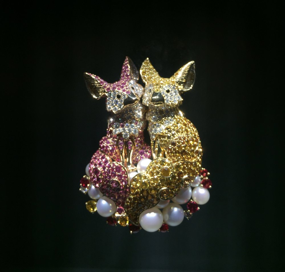 "Van Cleef and Arpels created this pair of bejeweled hyenas awash with precious gems for their ""Noah's Ark"" exhibition featured in New York from November 3rd-19th, 2017."