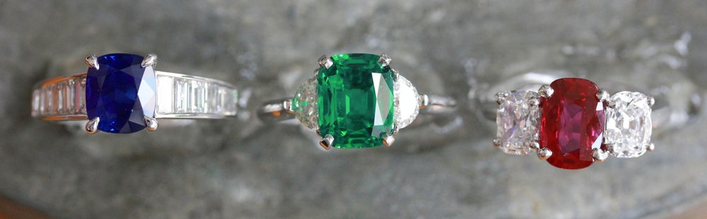 Handing wealth - and beauty - down thru generations begins with a proper collection; Kashmir Sapphire, Colombian Emerald and Burma Ruby.