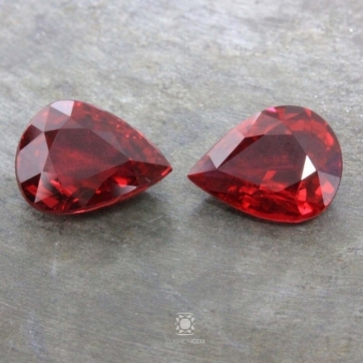A gorgeous, 7.11 carat pair of un-heated pearshape rubies.